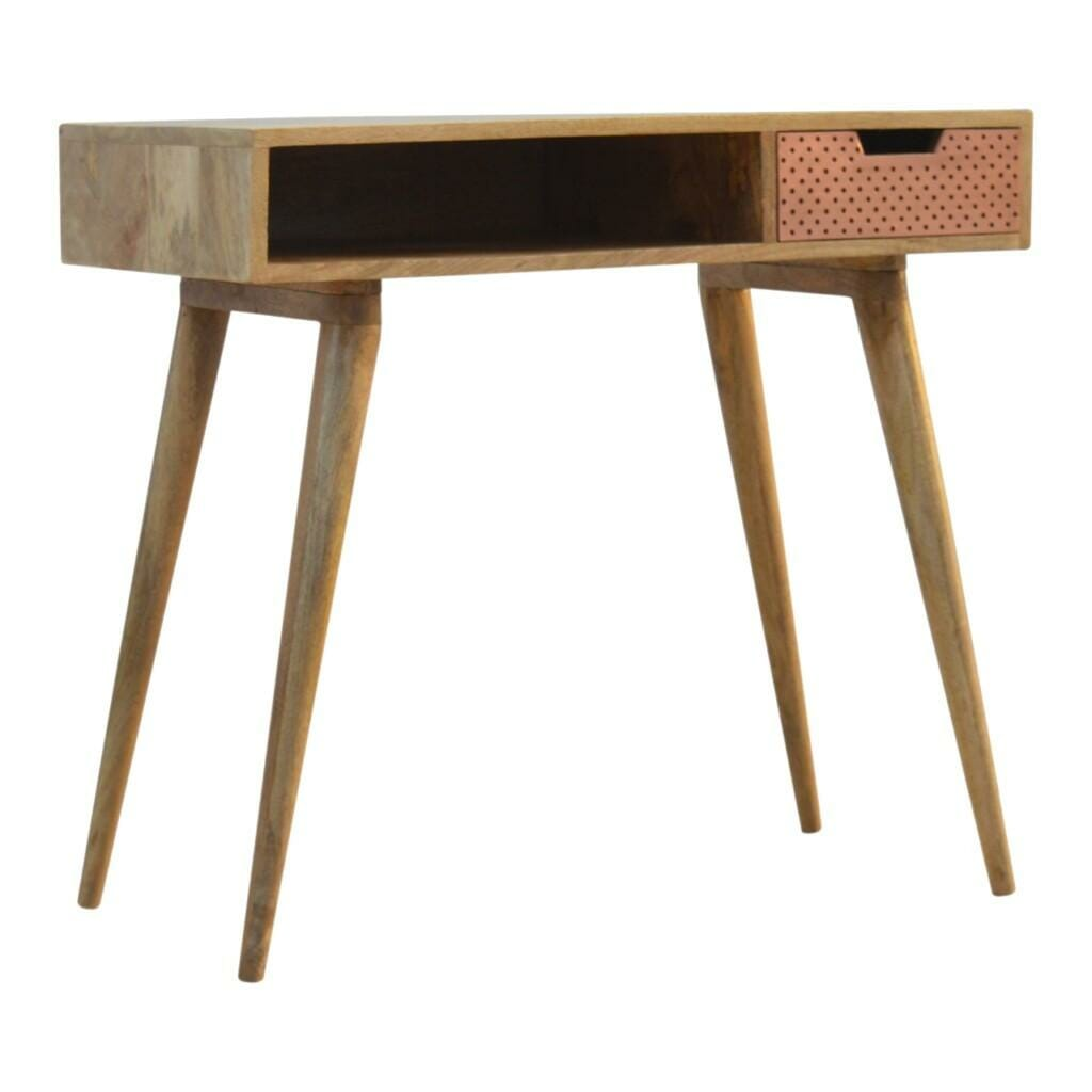 Nordic Style Writing Desk with 1 Perforated Copper Front Drawer