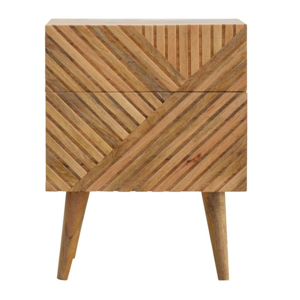 2 Drawer Solid Wood Line Carved Bedside with Nordic Style Legs