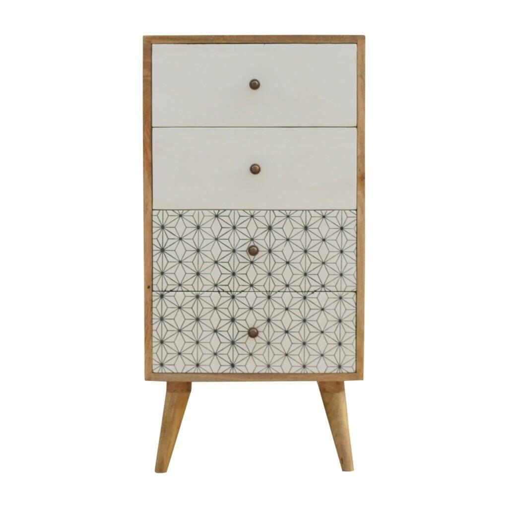 4 Drawer Tallboy with 2 Geometric Screen Printed Drawer Fronts
