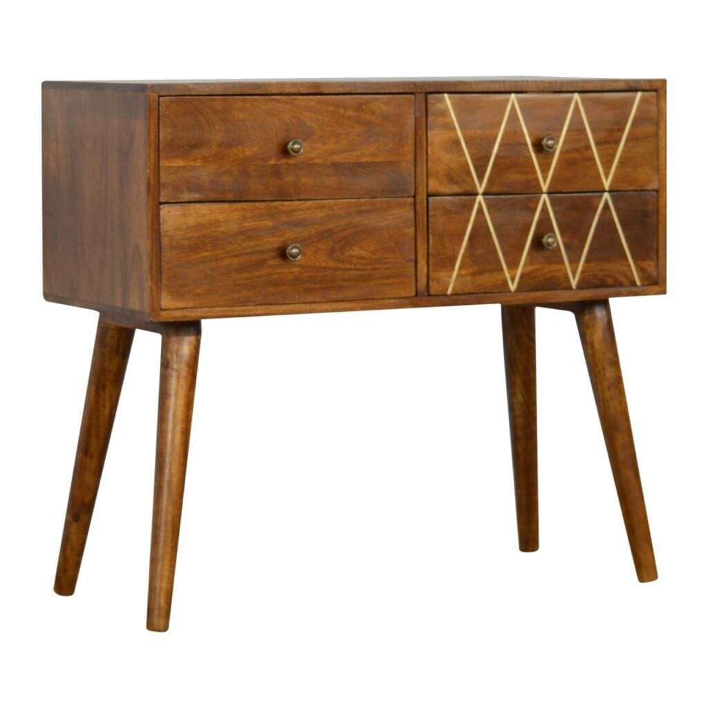 4 Drawer Nordic Style Console Table with Brass Inlay