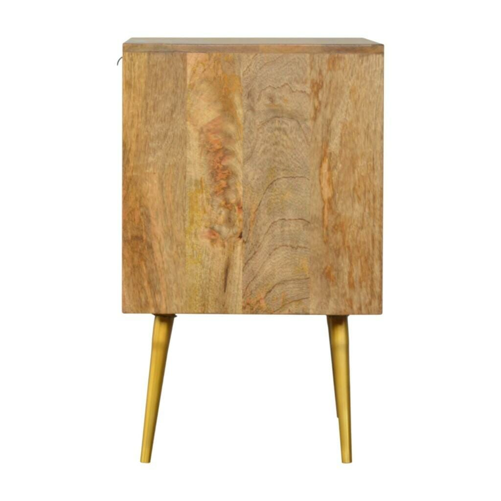 1 Drawer Nordic Style Sleek Cement Bedside with Brass Inlay