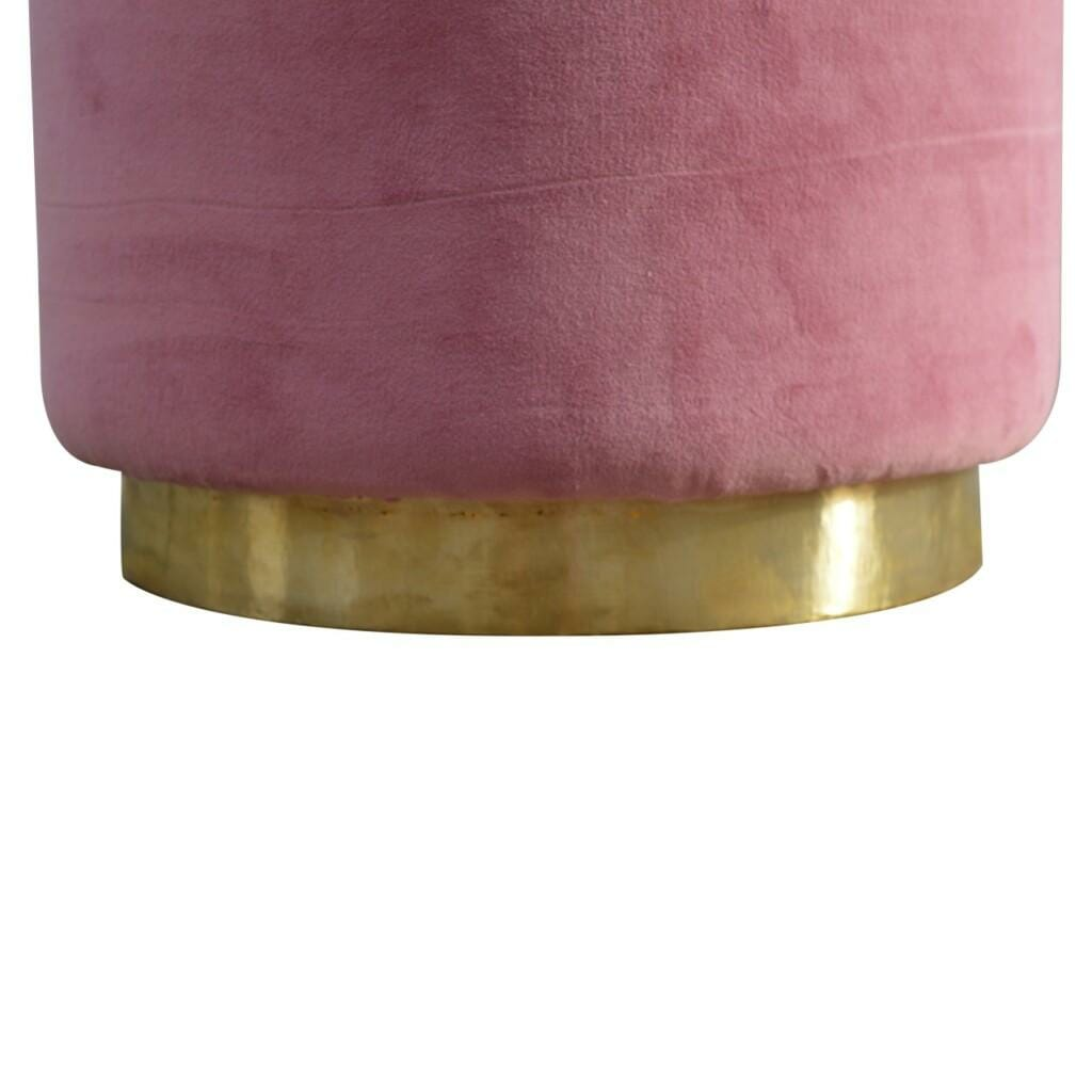 Round Dusty Pink Velvet Footstool with Gold Base
