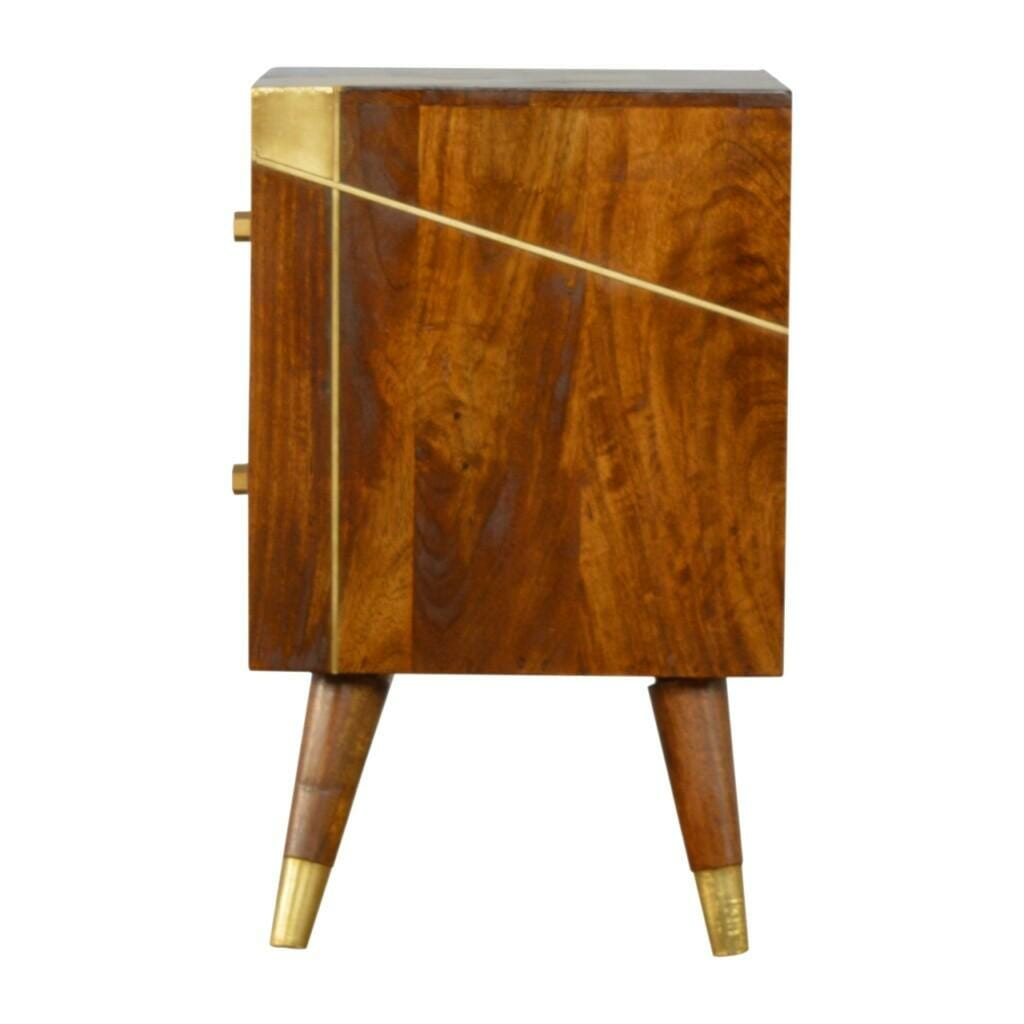 Nordic Style Chestnut Bedside with Gold Detailing
