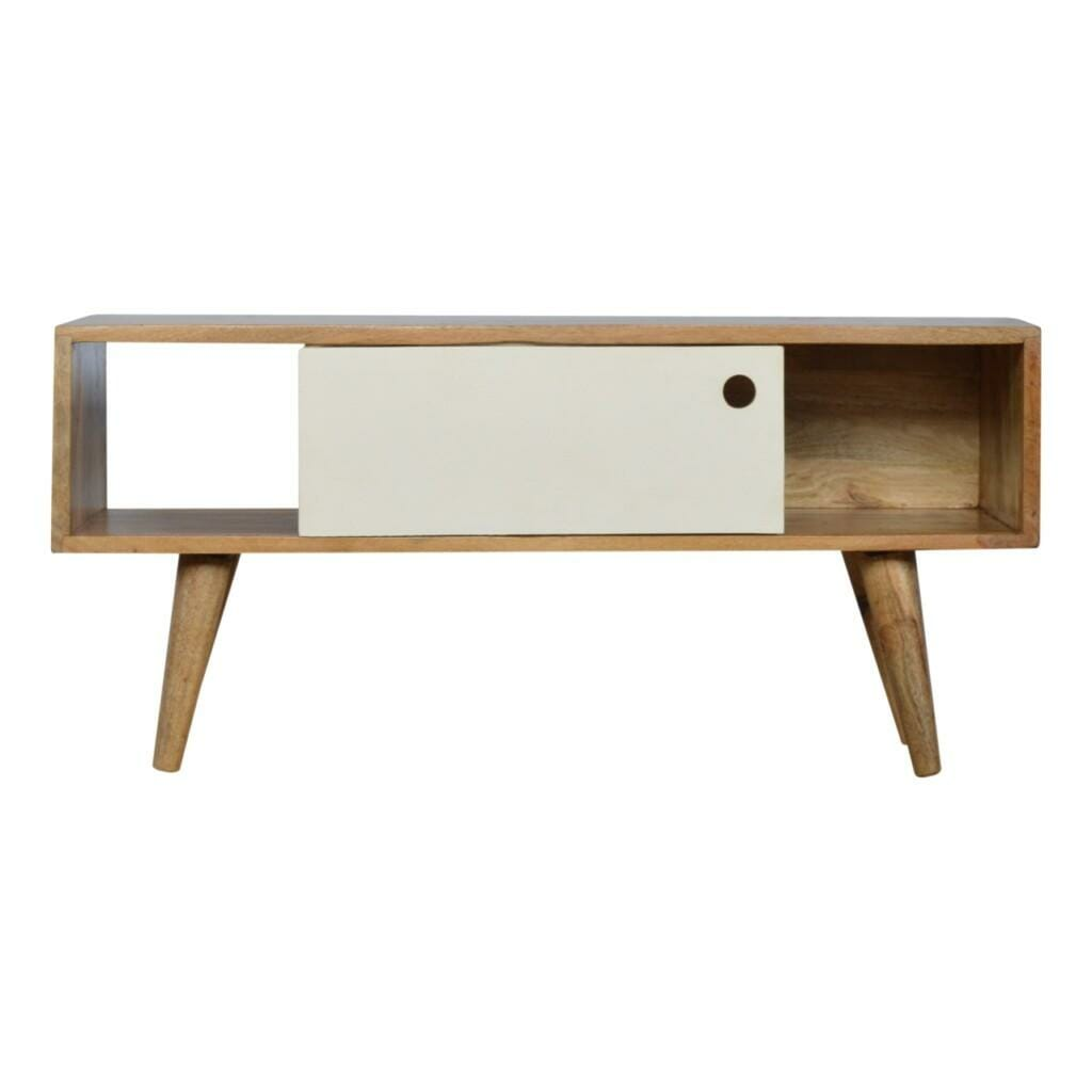 Nordic Style Media Unit with White Hand Painted Sliding Door