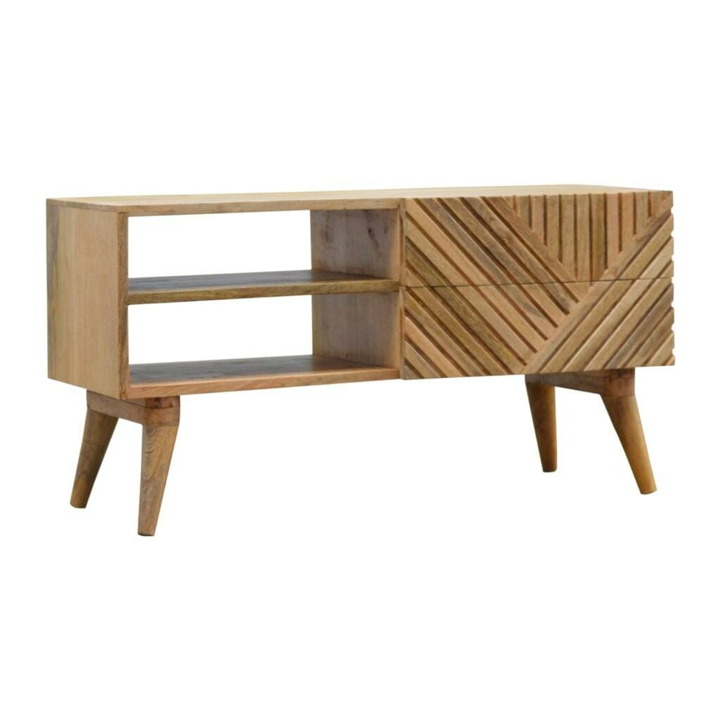 2 Drawer Solid Wood Line Carved Media Unit With 2 Open Slots