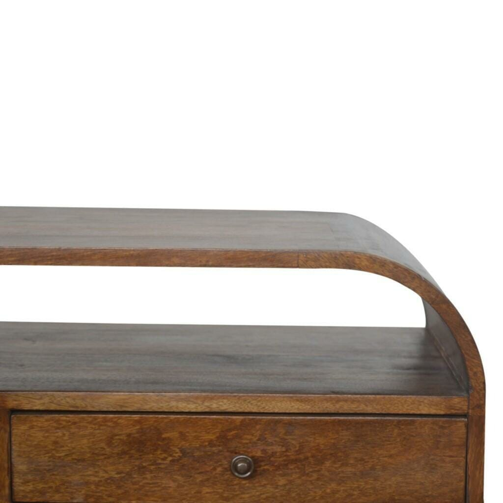 Chestnut Curved Edge Media Unit with 2 Drawers