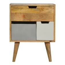 Solid Wood Nordic Style Bedside with 3 Multi Removable Drawers