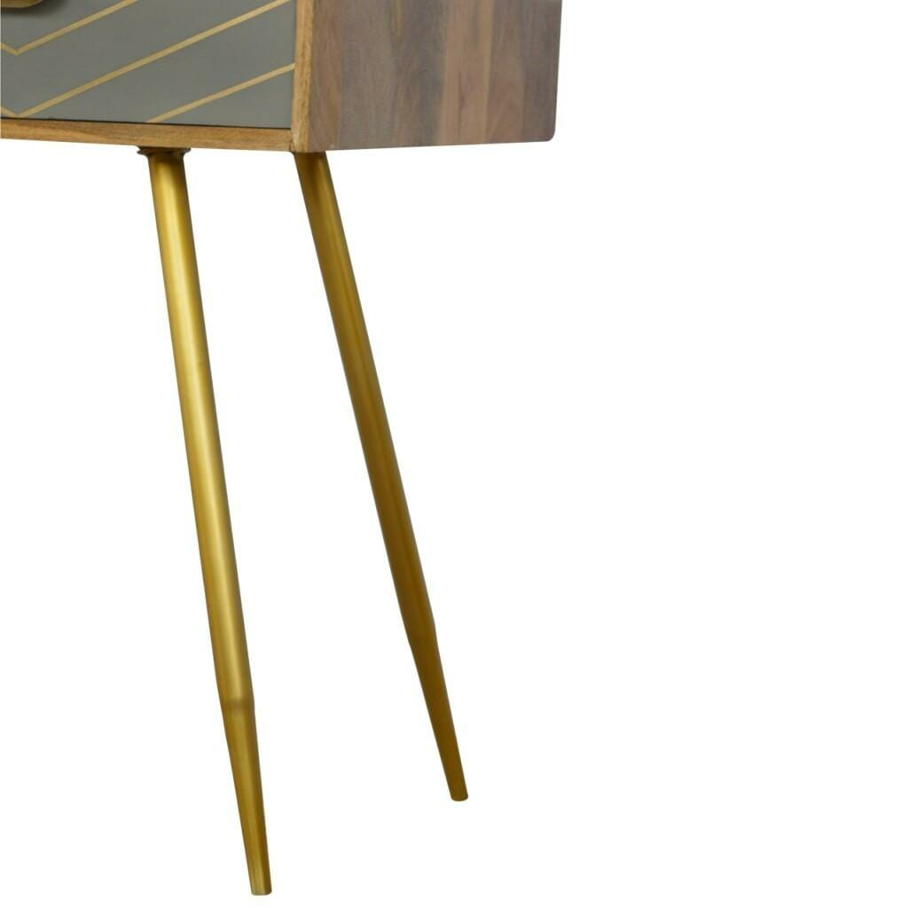 1 Drawer Nordic Style Writing Desk with 1 Brass Inlay Drawer