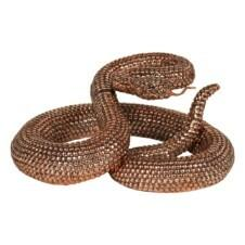 Bronze Coiled Rattlesnake Figurine