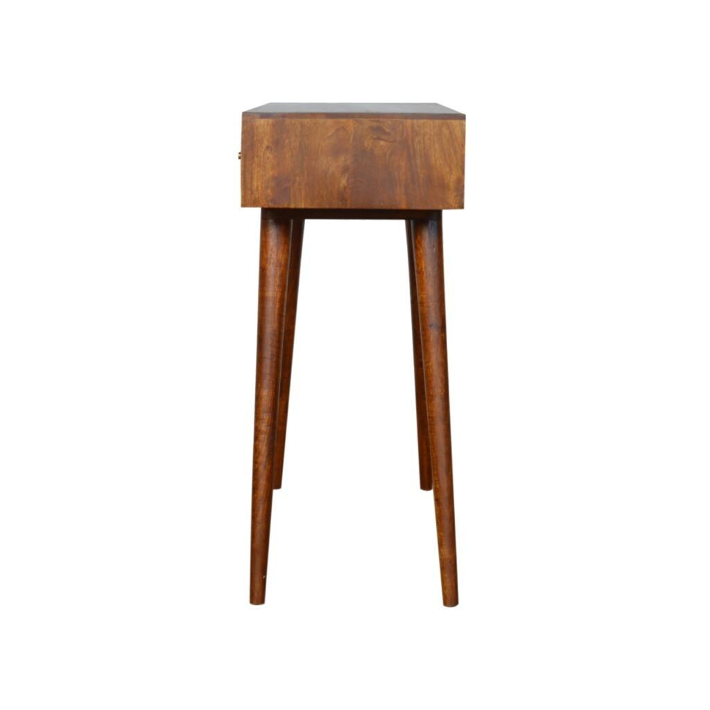 3 Drawer Mixed Chestnut Console Table Mango Wood