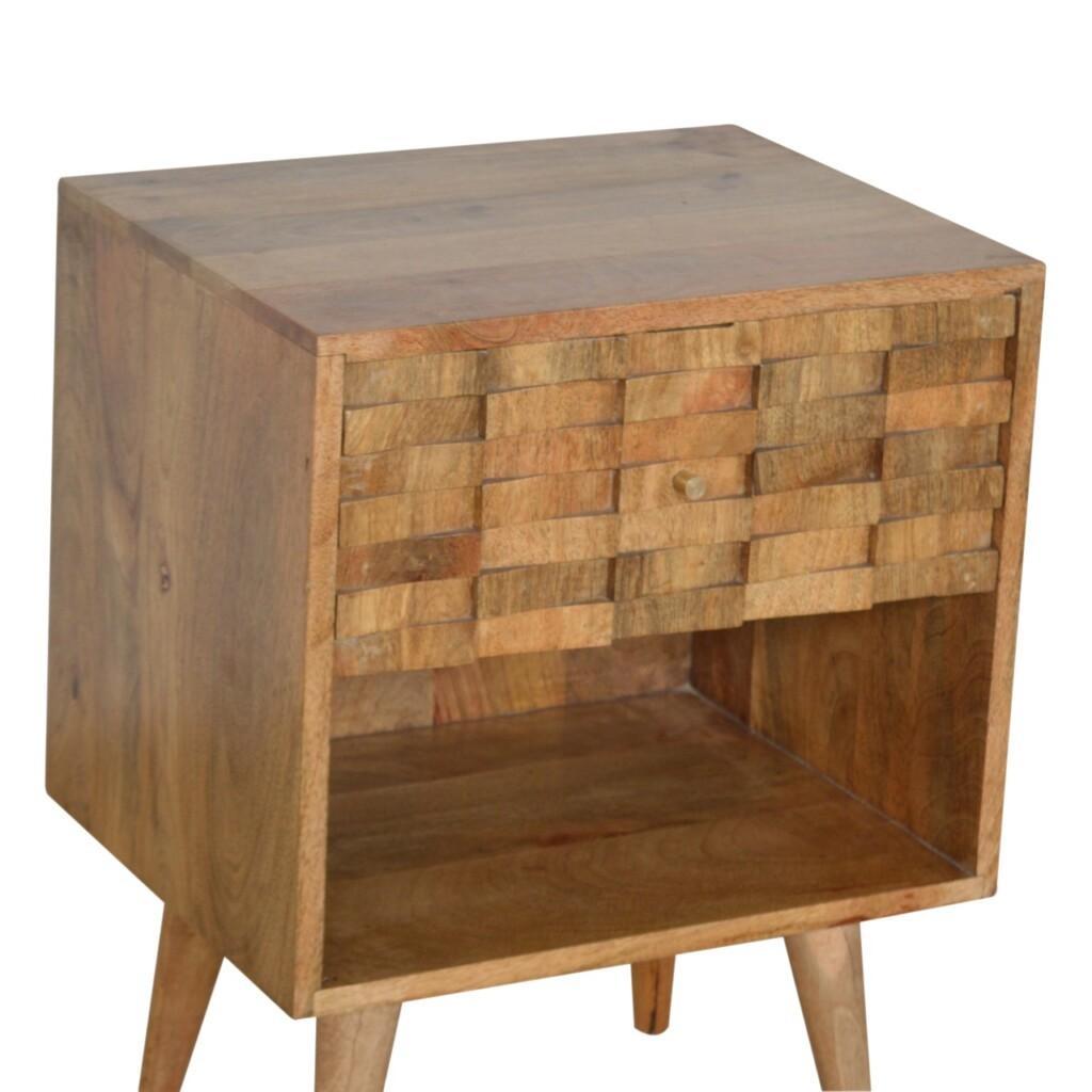 Tile Carved Bedside with Open Slot
