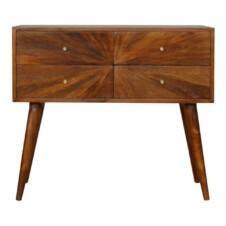 Sunrise Patterned Chesnut Console Table Mango Wood