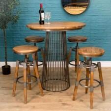 Urban Birdcage Bar Table with 2 Swivel Stools