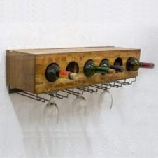 Urban Wall-mounted Wine Rack w Glass holders