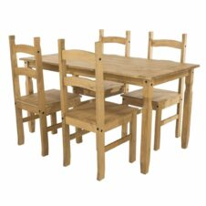 Corona Pine Rectangular Dining Table & 4 Chair Set