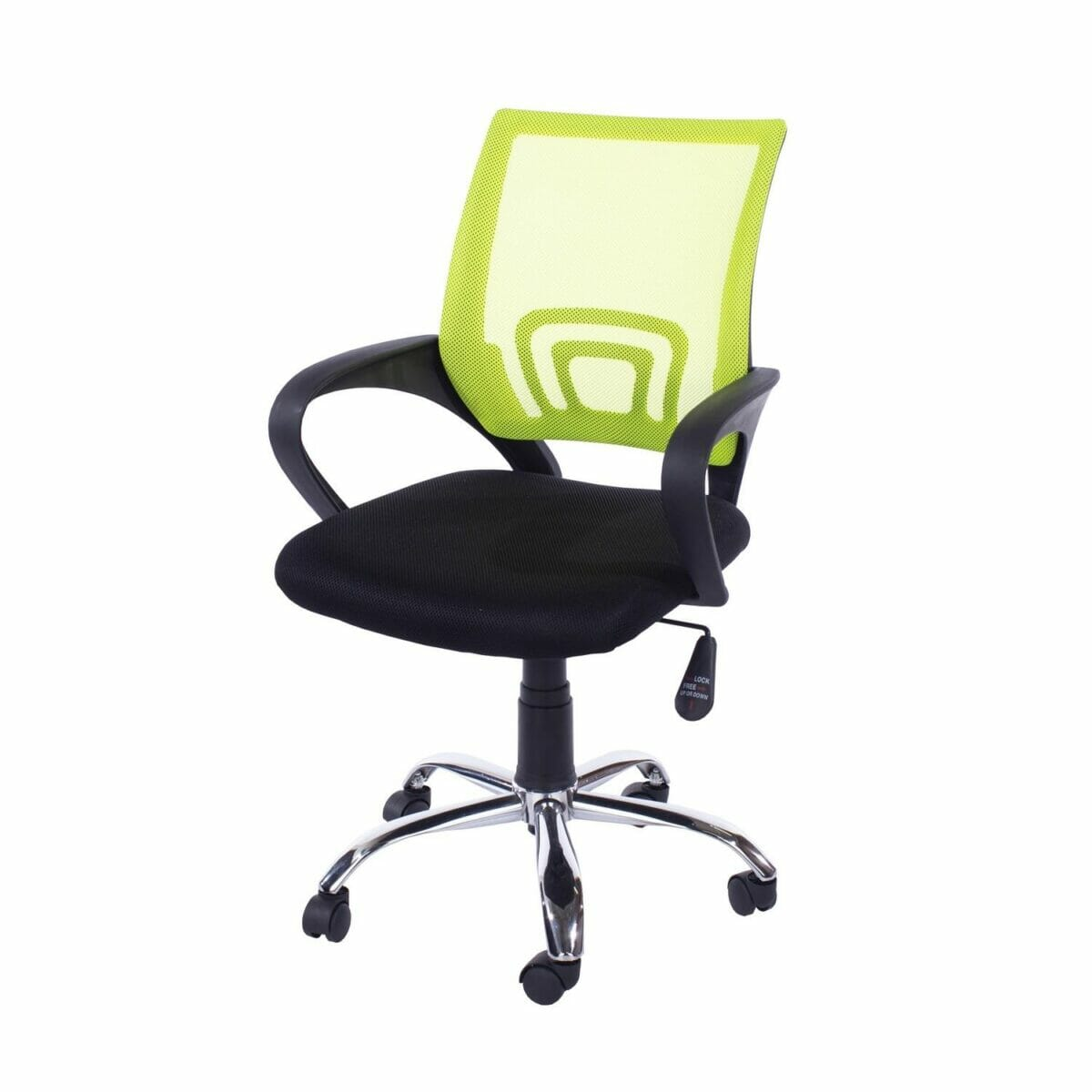 Loft Home Office Plastic Chair In Lime Green Mesh Back, Black Fabric Seat & Chrome Base