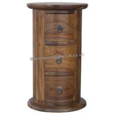 Jali 3 Drawer Drum Chest Bedside & Lamp Table