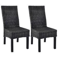 Casa Black Dining Chairs 2 pcs Kubu Rattan and Mango Wood