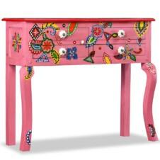 Console Table Solid Mango Wood Pink Hand Painted