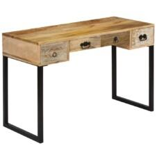 Desk Solid Mango Wood and Real Leather 117x50x76 cm