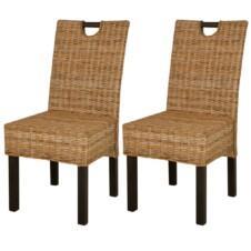 Dining Chair 2 pcs Kubu Rattan Mango Wood