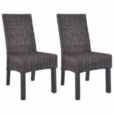 Dining Chairs 2 pcs Kubu Rattan and Mango Wood Brown