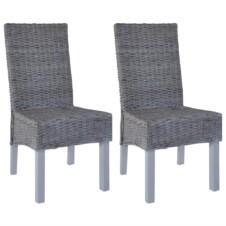 Dining Chairs 2 pcs Kubu Rattan and Mango Wood Grey