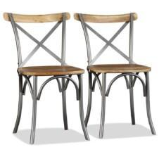 Dining Chairs 2 pcs Solid Mango Wood and Steel Cross Back