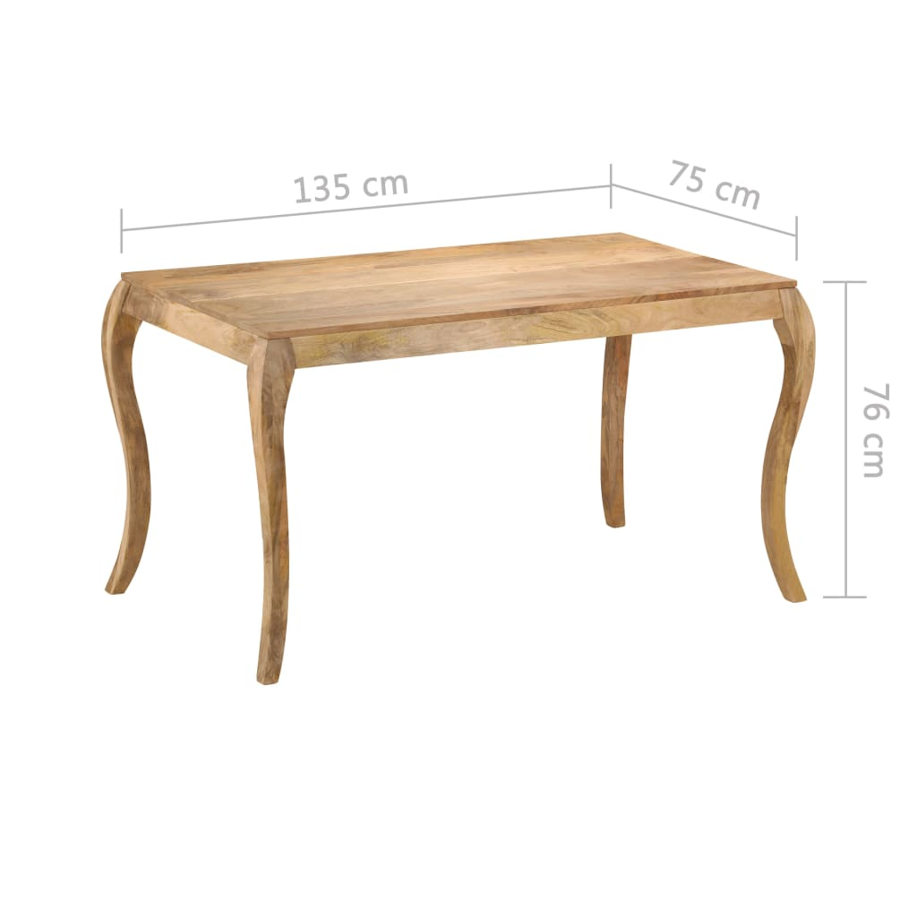 Dining Table 135x75x76 cm Solid Mango Wood