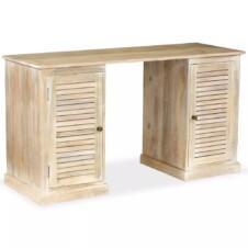 Pedestal Writing Desk Solid Mango Wood 140x50x77 cm