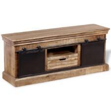 Gothic TV Cabinet with 2 Sliding Doors Solid Mango Wood 110x30x45 cm