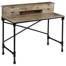 Writing Desk Solid Mango Wood and Steel 110x50x96 cm