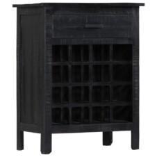 Casa Black Wine Rack 56x35x75 cm Solid Mango Wood