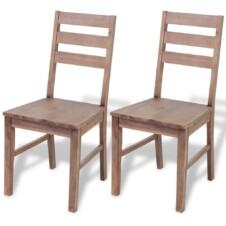 Dining Chairs 2 pcs Solid Acacia Wood 42x49x90 cm