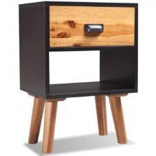 Solid Acacia Wood Bedside Cabinet 40x30x58 cm