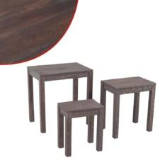 Three Piece Nest of Tables Solid Acacia Wood Smoke Look
