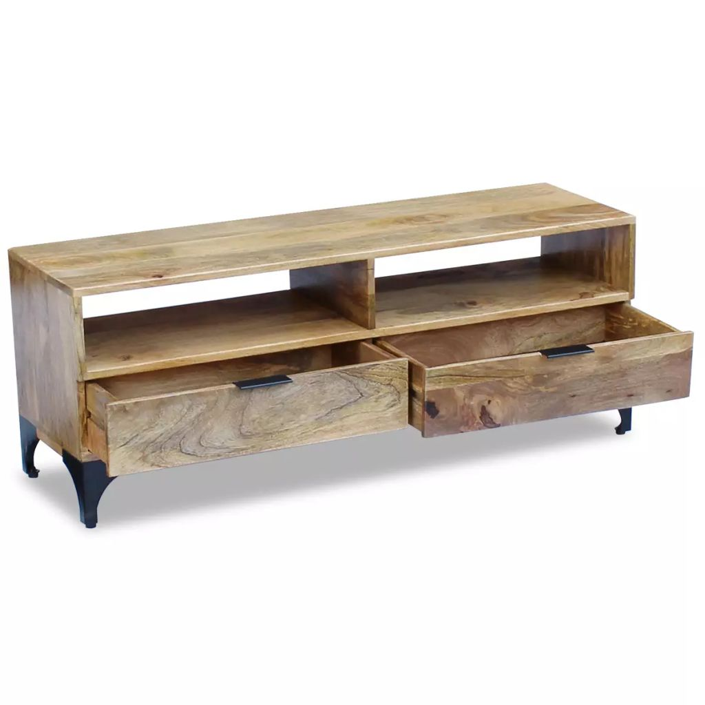 Retro Industrial TV Stand Mango Wood 120x35x45 cm