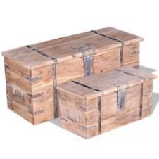 Two Piece Storage Chest Set Acacia Wood