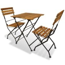 2 Seater Square Folding Bistro Set Solid Acacia Wood