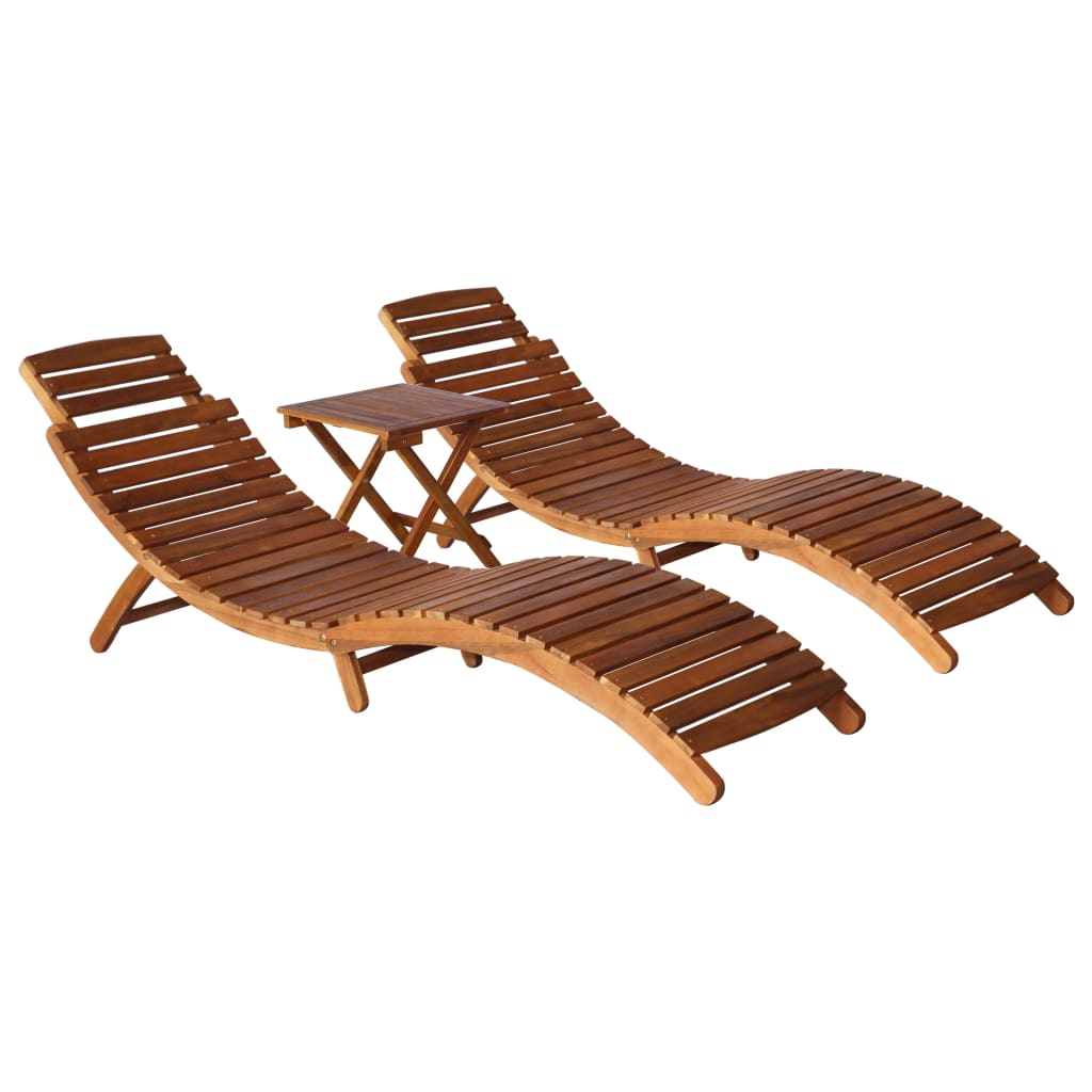 3 Piece Outdoor Lounge Set Solid Acacia Wood Brown