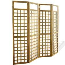 4-Panel Room Divider / Trellis Solid Acacia Wood 160x170 cm
