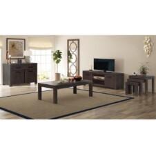 6 Piece Living Room Furniture Set Solid Acacia Wood Smoke Look