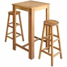 Bar Table and Stool Set 3 Pieces Solid Acacia Wood