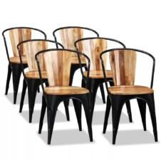 Set of 6 Black Metal Tub Dining Chairs Solid Acacia Wood Seat