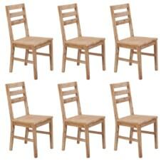 Set of 6 Solid Acacia Wood Slated Back Dining Chairs