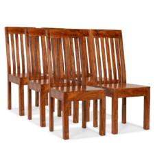 Dining Chairs 6 pcs Solid Wood with Sheesham Finish Modern