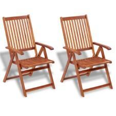 Folding Garden Chairs 2 pcs Solid Acacia Wood Brown