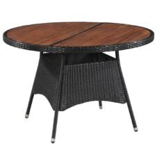 Outdoor Dining Table Poly Rattan and Solid Acacia Wood 115x74cm