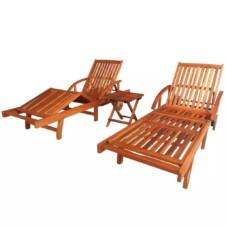 Sun Loungers Set of 2 with Table Solid Acacia Wood