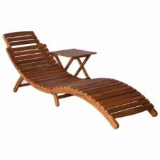 Sunlounger with Table Solid Acacia Wood Brown